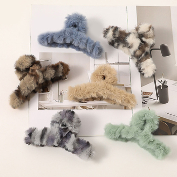 Sweet Faux Rabbit Fur Candy Color Hair Clip Hair Claws Cross Hairpins Plush Autumn Winter Hair Accessories Girls Head wrap image