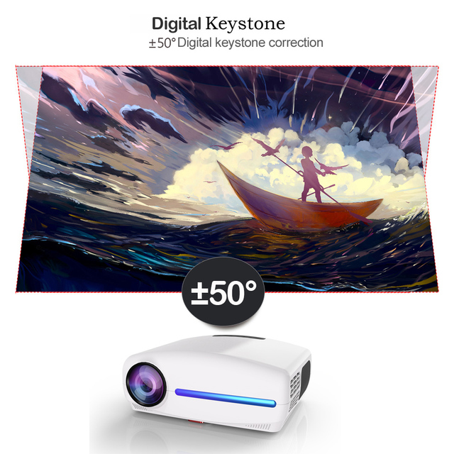 WZATCO C2 4K Full HD 1080P LED Projector Android 9.0 Wifi Smart Home Theater AC3 200inch Video Proyector with 4D Digital keyston 1