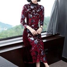 Velvet Maxi Dress Plus Size Long Sleeve Elegant Party for Women Print Floral Dresses 2019 Winter Autumn Vintage Chinese Clothing