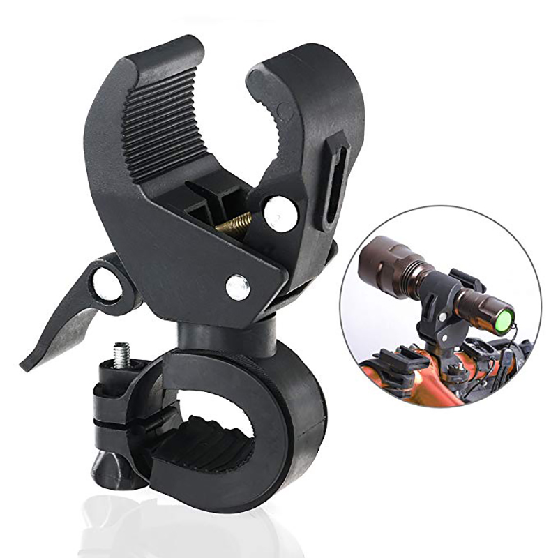 Support de guidon de vélo de vélo rotatif à 90 degrés universel Support de lampe de poche à LED Torch Mount Clamp Clip Holder Grip Bracket (Noir)
