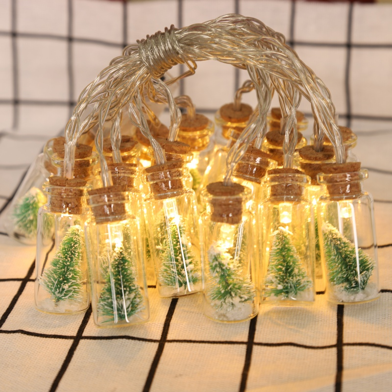 New Snowman Christmas Tree Glass Bottle Light String Shop Window Home Decoration Lamp Led Copper Wire Holiday Light