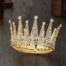 Модная Золотая свадебная круглая корона аксессуары для волос
