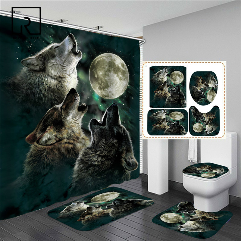 Wolf Animal Printed Shower Curtain Set with Bath Mat Anti-slip Bathroom Carpet Home Decoration Entrance Doormats Living Room