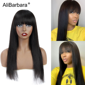 long straight Full wigs human hair wigs for black women 14-24 inch Remy Brazilian hair wigs with Bangs fast shipping