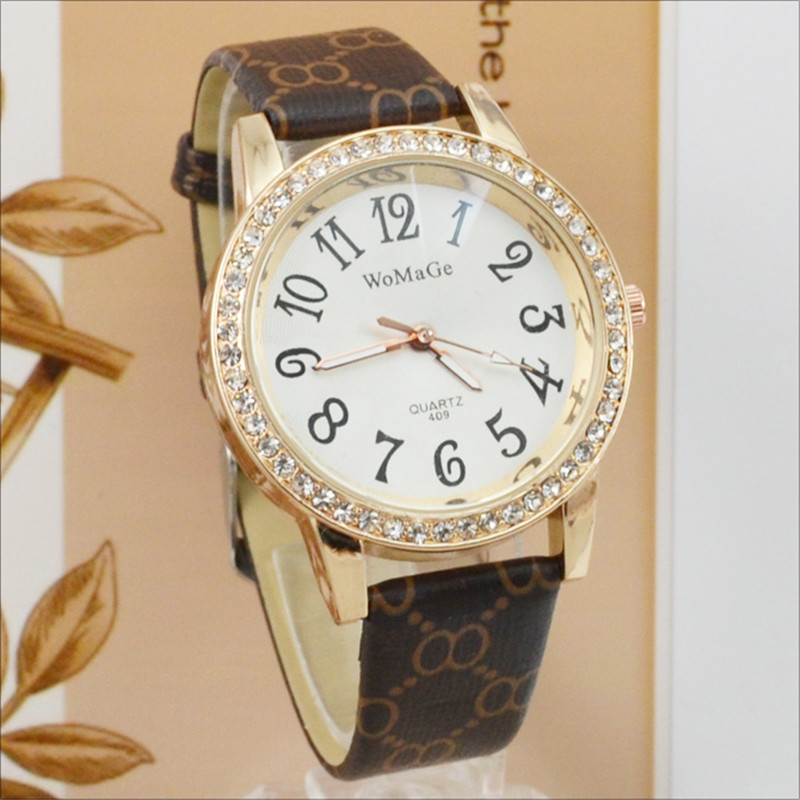 Womage Casual Women Watches Fashion Crystal Ladies Leather Band Quartz Dress