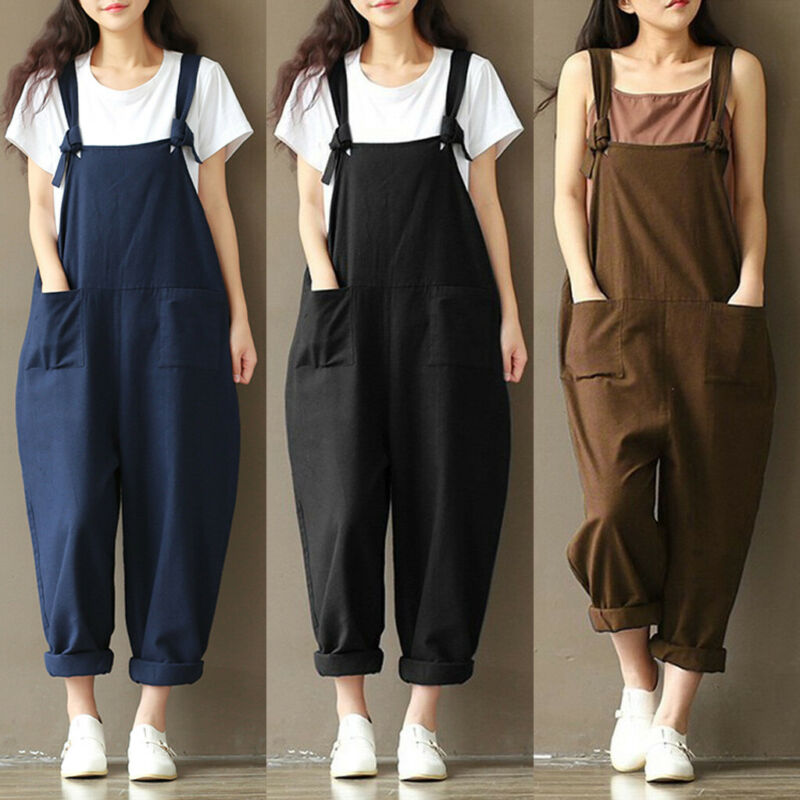 3XL Plus Size Spring Women Girl Harajuku Casual Strap Loose Jumpsuit Dungaree Harem Trousers Solid Overall Pants Costume