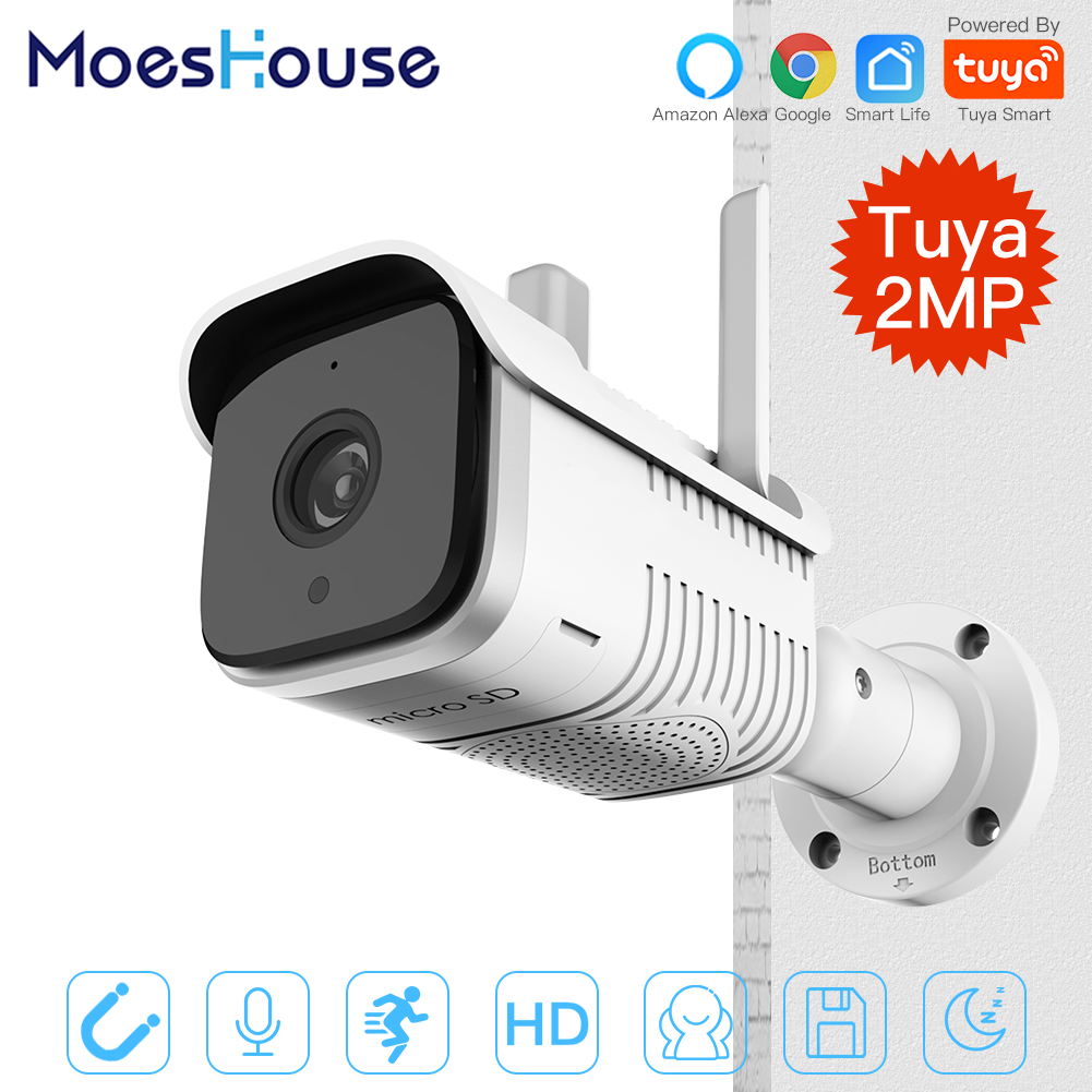 Tuya Smart Outdoor IP65 Waterproof WiFi  Two-Way Audio Camera HD 1080P Network Night Vision IP Camera Work With Alexa Echo