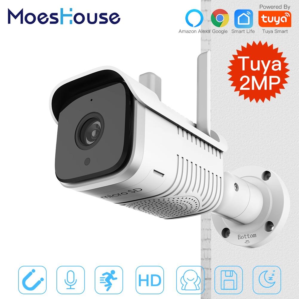 Tuya Smart Outdoor IP65 Waterproof WiFi  Two-Way Audio Camera HD 1080P Network Night Vision IP Camera Work With Alexa Echo