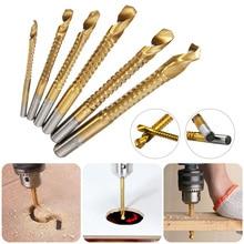 6PCS 3-8mm Titanium Coated HSS Drill Bit Tool Set Sawtooth Bit Wood Metal Plastic Hole Grooving Kit Woodworking Tools