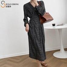 Женское цельнокроеное платье с запахом v образным вырезом и