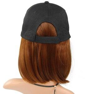 Image 5 - Peruka syntetyczna czapka z daszkiem z krótkimi prostymi peruki blond dla kobiet kobiece włókno termoodporne krótkie peruki