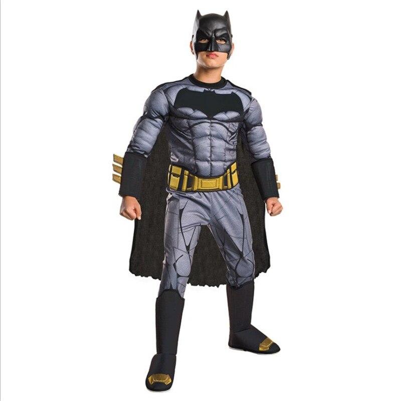 Темный рыцарь Бэтмен Косплей маски Брюс Уэйн Высокое качество шлем маска Детский комбинезон с мышцами плащ наряд Одежда аксессуар