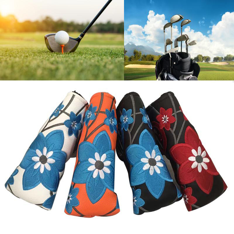 Embroidery Golf Putter Cover PU Blade Putter Head Cover Headcover Protector Bag Guard Accessories Golf Activity Golf Club Cover