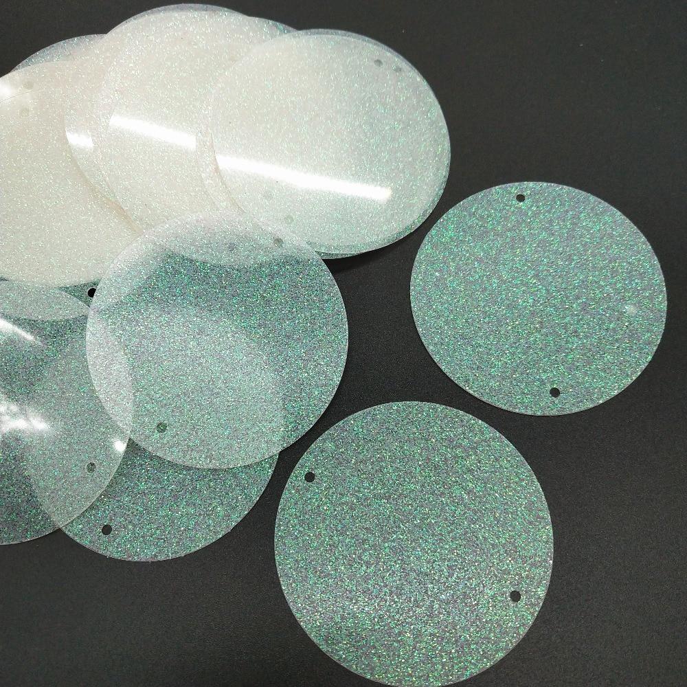 50mm 2 holes glitter white