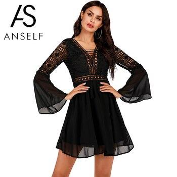 Женское платье с v-образным вырезом Anself, шифоновое мини-платье с длинным рукавом, элегантное белое повседневное кружевное платье в стиле бохо 3