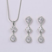 WEIMANJINGDIAN Elegant Pear Drop Cubic Zirconia CZ Crystal Necklace and Earring Bridal Wedding Jewelry Set(China)