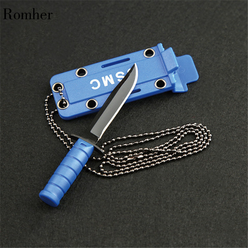 Portable Hike Package Open Necklace Survive Opener EDC Pocket Self Blade Fruit Knife Camp Outdoor Hunt Defense Mini Box Letter