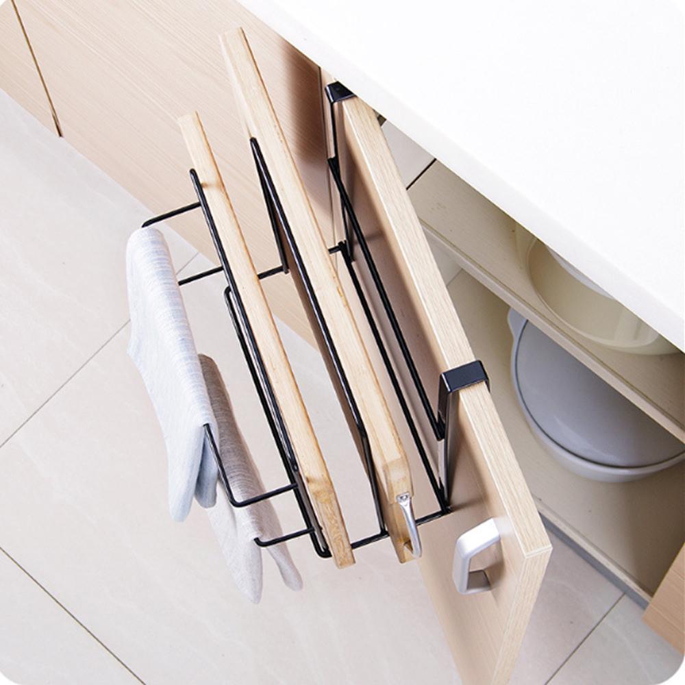 doble capa para cocina bajo armario Soporte para tabla de cortar hierro artesanal soporte para toallas Tama/ño libre Blanco tabla de cortar colgador