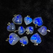 Натуральный Синий светильник, подвеска из лунного камня для женщин и мужчин, годовщина, 18x18x7 мм, сердечный камень, 925 серебряное ожерелье со стразами, кулон AAAAA