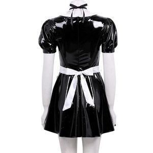Image 3 - 3Pcs Women Adults French Maid Cosplay Costume Outfit Square Neck Puff Sleeve A line Patent Leather Dress with Apron and Headband