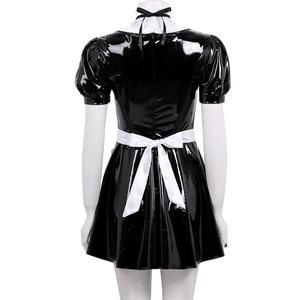 Image 3 - 3Pcs נשים מבוגרים צרפתים תלבושת כיכר צוואר פאף שרוול אונליין פטנט עור שמלה עם סינר סרט