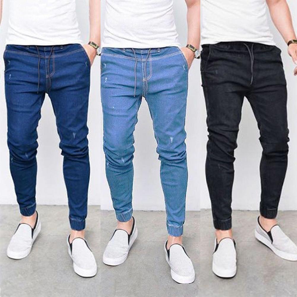 New Plus Size Men Jogger Skinny Pants Elastic Waist Pencil Jeans Denim Trousers