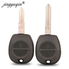 jingyuqin 10pcs 2 Buttons Remote Fob Key Shell for Nissan Micra Almera Primera X Trail Uncut Blade Car Key Case Cover