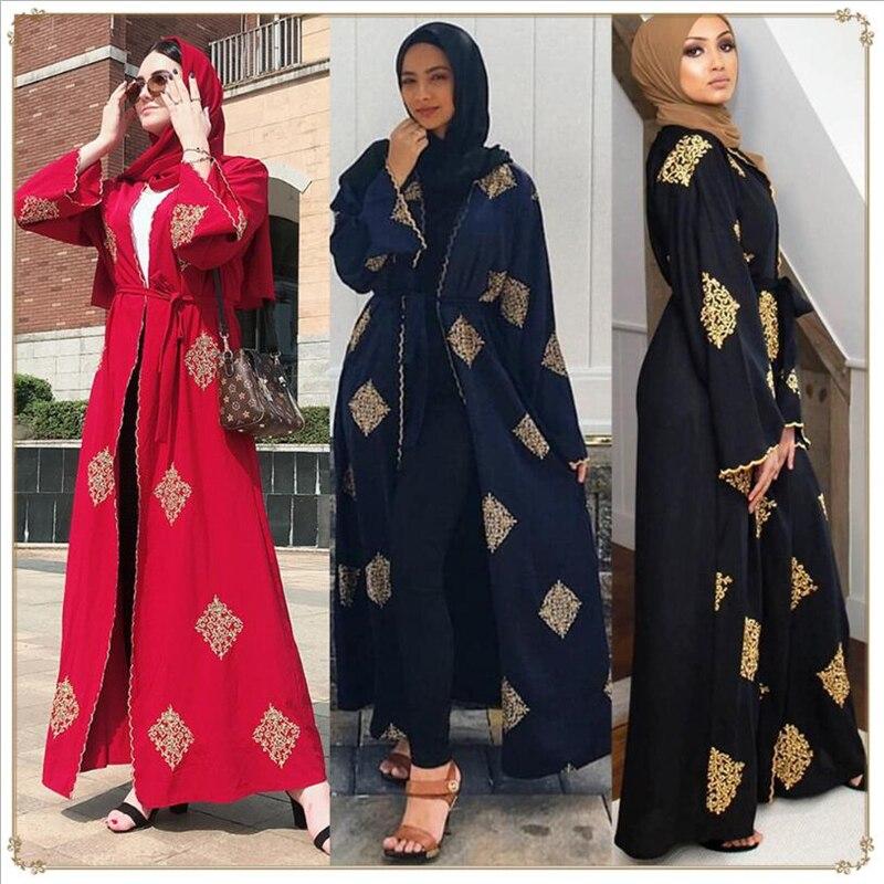 2020 Spring New Muslim Womens Long Abaya Cardigan Long Sleeve Embroidery Islamic Komono Open Front Arab Dubai Abayas Dress
