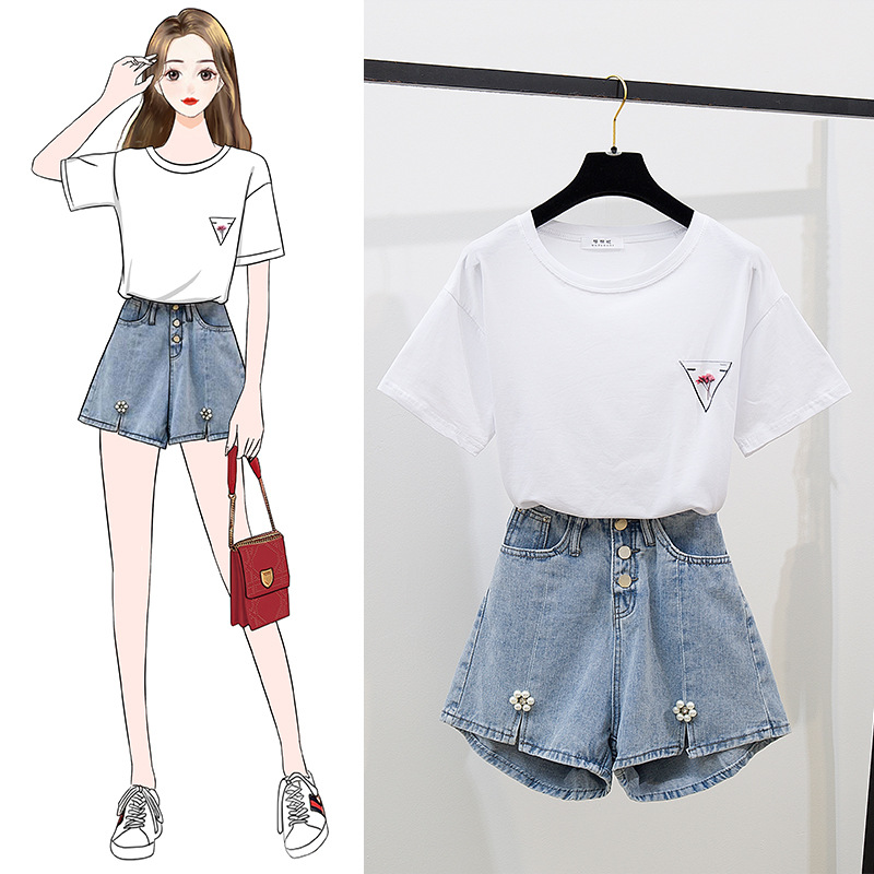 Hipster Simple Solid Color Dried Flower T-shirt Beads Small Daisy Denim Shorts Hot Pants Single Breasted WOMEN'S Suit