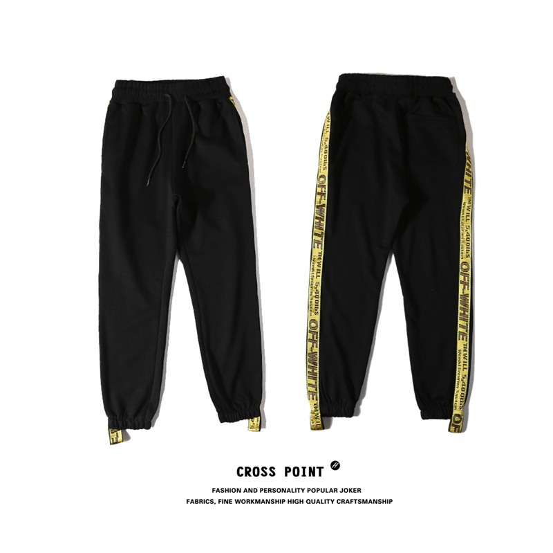 2018 New Style Europe And America Popular Brand Off Ow White Series Gold Webbing Sweatpants Trousers Students Couples