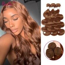 Brown Hair Weave Bundles Human-Hair-Extensions RUIYU Pre-Colored Non-Remy Dark/Light