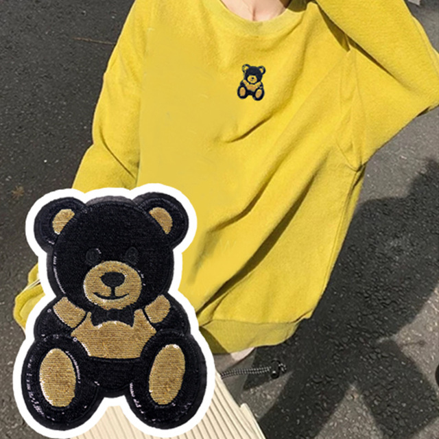 1 Piece S/L Size Cute Bear Sequins Embroidery Stickers Children'S Cloth Patches Holes Patches Cartoon Cloth Embroidery 6