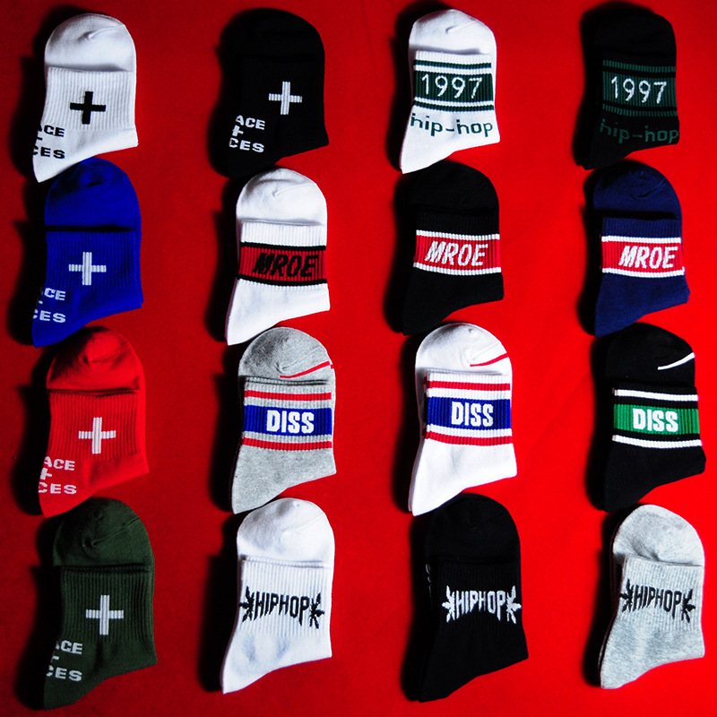 2020 New Hot Cotton Skateboard Sock High Quality Harajuku Style Weed Socks For Women Hip Hop