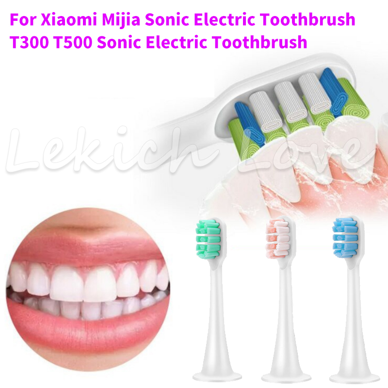 Lekich Love for Xiaomi Mijia T300 T500 Electric Toothbrush U-Style 3D-Whitening Heads with Protecting Caps for Healthy Brushing