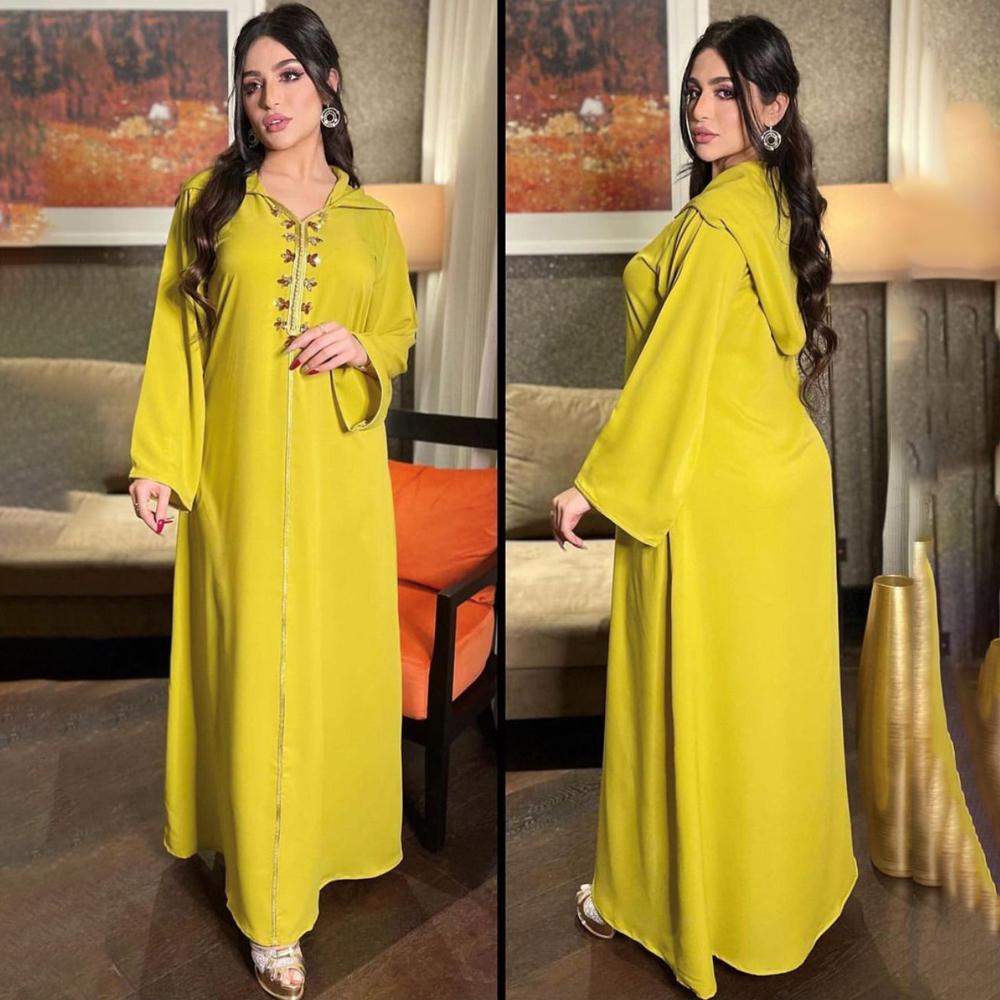 MD Abaya Dubai Turkey Muslim Hooded Dress Women Moroccan Caftan Elegant Lady Islamic Clothing 2021 Eid Mubarak Djellaba Femme