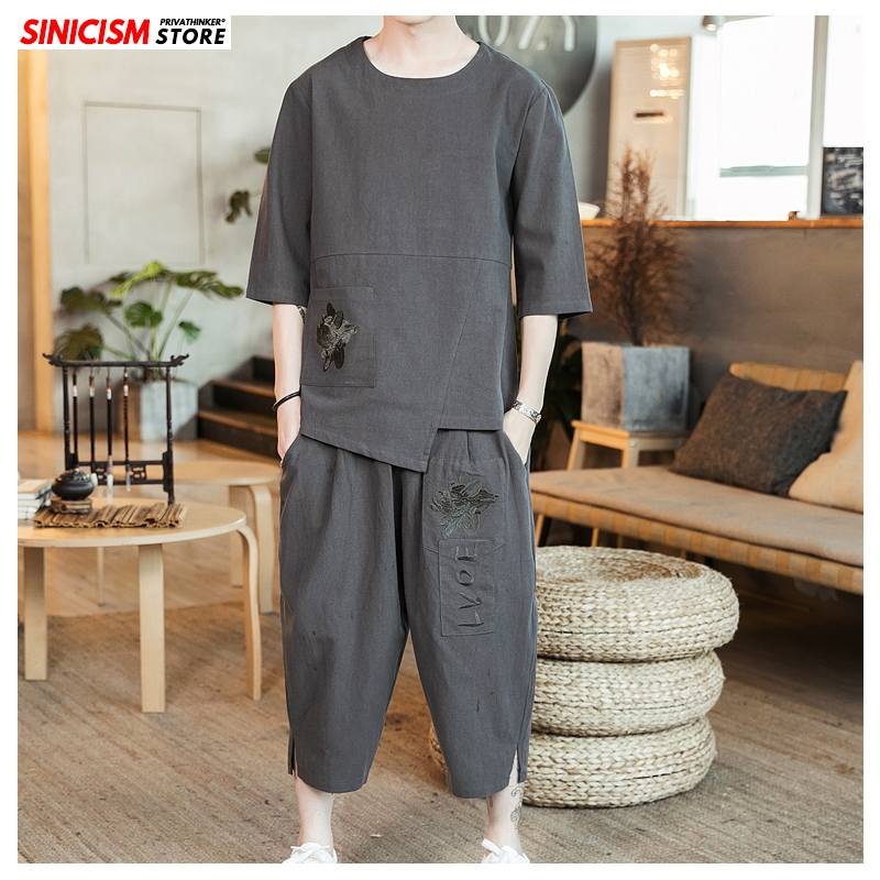 Sinicism Store Cotton Linen Summer Tracksuit Men 2020 Men Loose Embroidery Suit Sets Male Fashion Chinese Style Oversize Clothes