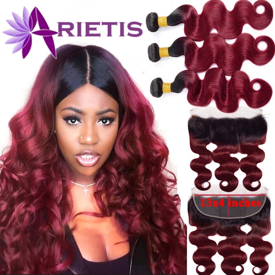 #99j Body Wave Bundles With Closure Brazilian Hair Bundles With Frontal Human Hair Frontal With Bundle Remy Hair For Black Women
