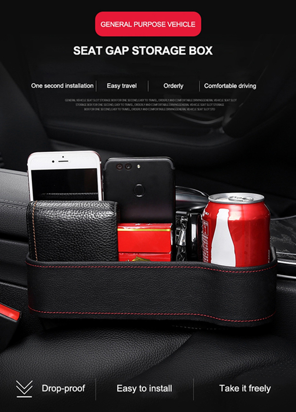 Car Seat Organizer Crevice Storage Box Car Organizer Gap Slit Filler Holder For Wallet Phone Slit Pocket Auto Car Accessories