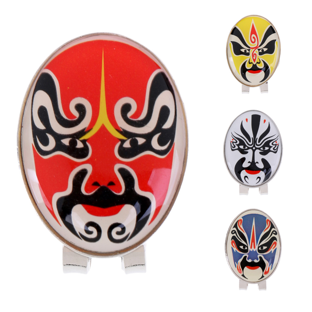 4 Pieces Peking Opera Mask Alloy Golf Ball Marker With Magnetic Hat Clip