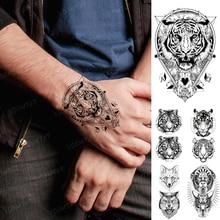 Waterproof Temporary Tattoo Sticker Tiger Linear Geometric Realistic Body Art Tatoo Arm Hand Tatto Man Woman Child Flash Tattoos
