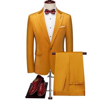 Fashion Men Wedding Suits Slim Design Male Business Suit High Quality Men Two-piece Set Classic Groomsman Suit Size XXXL 4XL 5XL