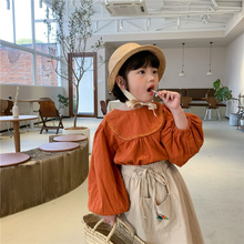 Tops Blouse Shirts Cotton Solid Spring Soft Girls Korean-Style Casual 2-Colors