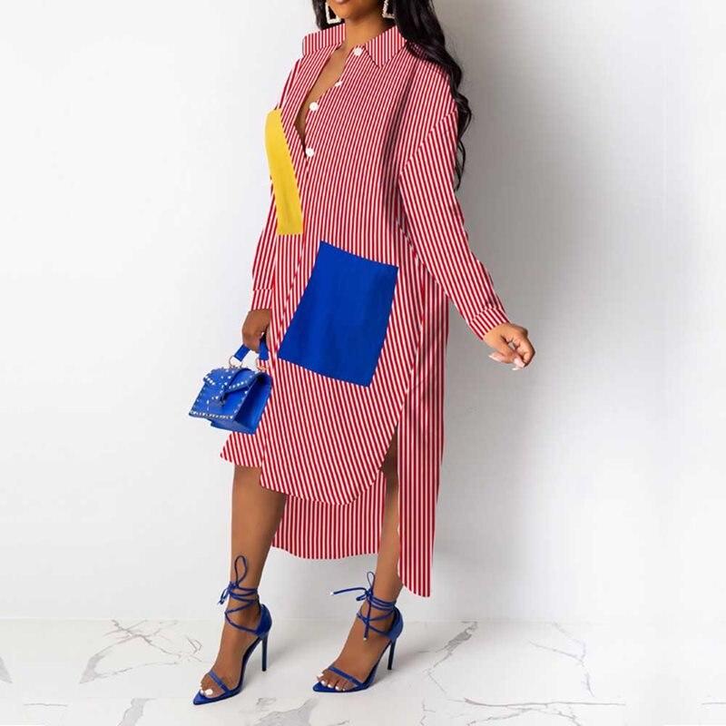 Casual African Women Dress Asymmetrical Striped Midi Dresses Long Sleeve Loose Style Streetwear Female Vestiods Long Shirts
