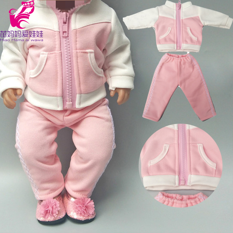 Doll Clothes For 43cm Born Baby Doll Jacket Clothes Pants Set For 17