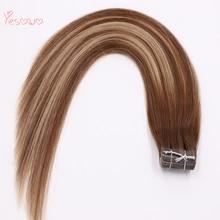 Yesowo пряди волос на ленте, 4/24/4#2,5 г/шт. выделить пряди для наращивания волос высокое качество дешевые бразильские прямые волосы натуральный человеческих волос