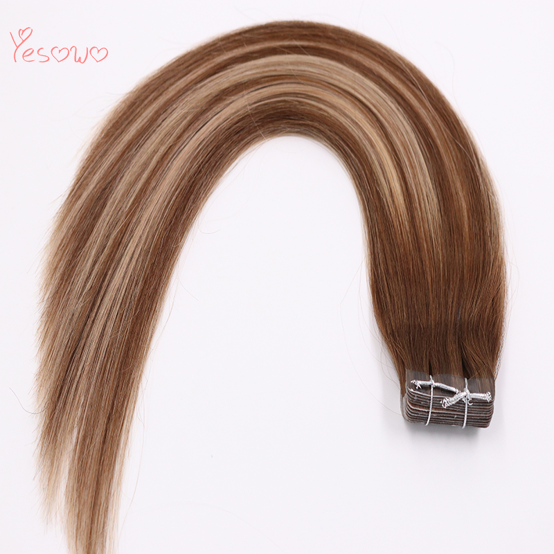 Yesowo Tape In Hair 4/24/4# 2.5g/piece Highlight Hair Extensions High Quality Cheap Brazilian Straight Original Human Hair