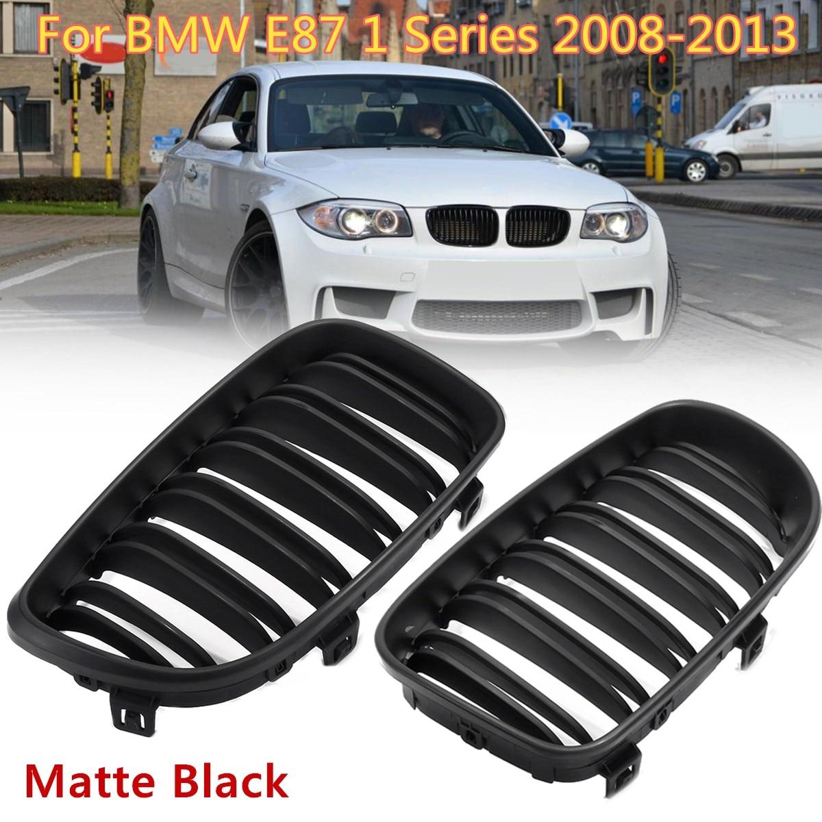 2Pcs Front Bumper Kidney Grill For BMW E81 E82 E87 E88 118i 125i 1 Series 2007 2013 Gloss Matt Black M 2 Slat Line Car Styling