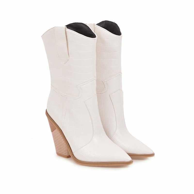 งูพิมพ์ Western Cowgirl สีขาวสีดำสีเหลือง Faux หนังคาวบอยข้อเท้ารองเท้าสำหรับสตรีรองเท้าส้นสูง chunky