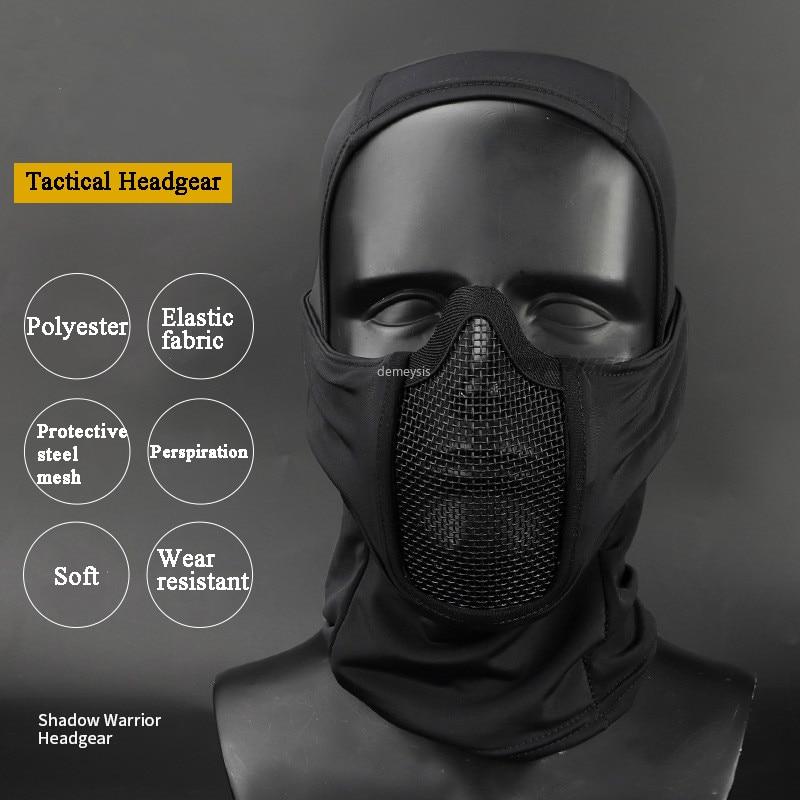 Hunting Protective Headgear Military Tactical Balaclava Cap Combat Half Face Steel Mesh Airsoft Paintball Masks