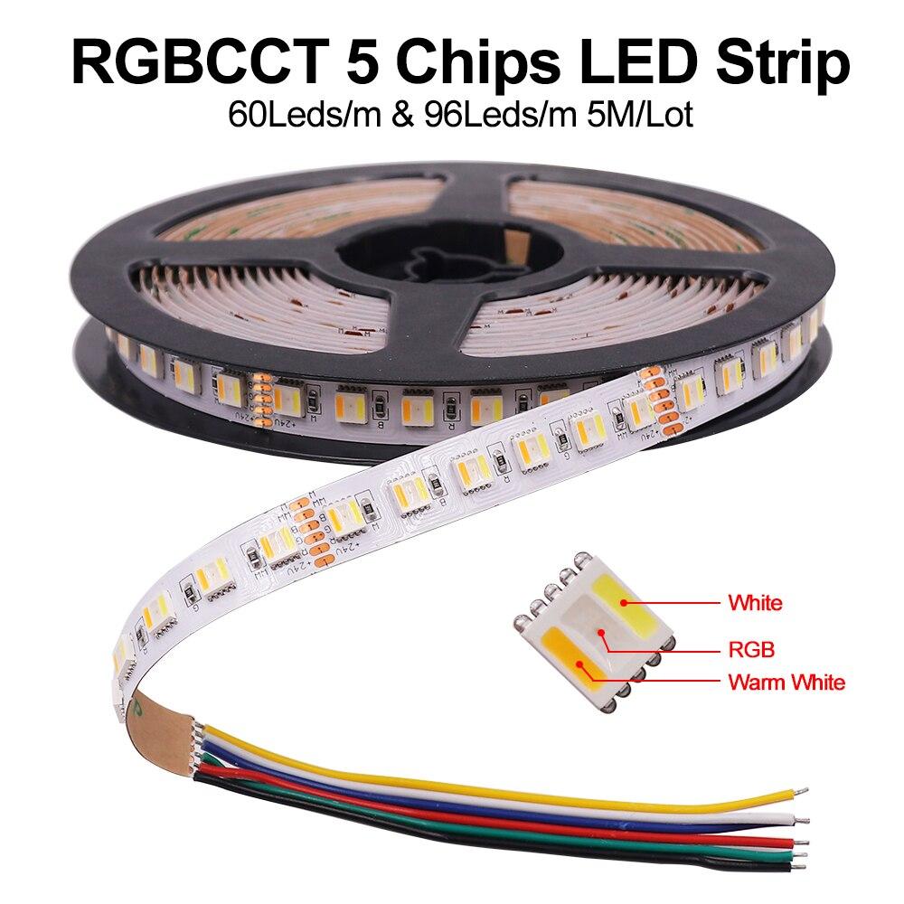 5M 5 Colors In 1 Chip LED Strip Light RGBCCT RGBW RGBWW 30LEDs/M 60LEDs/M 96LED/M Waterproof LED Tape Flexible 12V 24V LED Strip